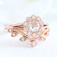 rose cut diamond ring and curved leaf diamond wedding set in rose gold by la more design
