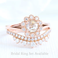 rose cut diamond ring and rose gold crown diamond wedding band set in by la more design