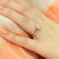 rose cut diamond ring and vintage style diamond wedding set in rose gold by la more design