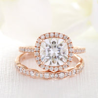 rose gold cushion moissanite engagement ring bridal set and scalloped diamond band by la more design