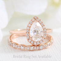 rose gold pear moissanite halo diamond ring set by la more design