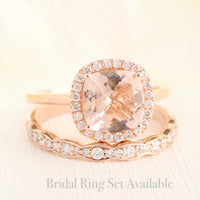 rose gold halo diamond morganite engagement ring set by la more design