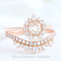 rose gold rose cut diamond ring and crown diamond wedding set by la more design