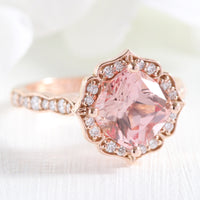 rose gold vintage floral peach sapphire engagement ring scalloped diamond band by la more design jewelry