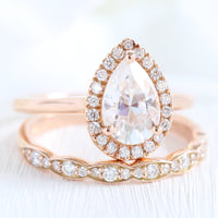 rose gold halo bridal set pear moissanite ring and scalloped diamond band by la more design jewelry