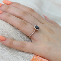 round halo engagement ring black spinel diamond ring rose gold by la more design