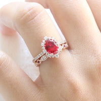 ruby engagement ring rose gold halo diamond bridal set and diamond ruby wedding band by la more design jewelry