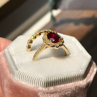 Custom Made Ruby Diamond Engagement Ring in 18k Yellow Gold, Size 5.5