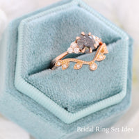 salt and pepper diamond ring rose gold 3 stone ring bridal set grey diamond ring la more design jewelry