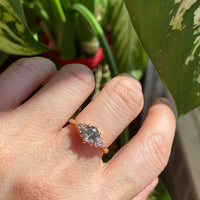 salt and pepper grey diamond ring rose gold 3 stone cluster ring la more design jewelry