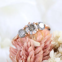 salt and pepper grey diamond ring rose gold 3 stone ring la more design jewelry