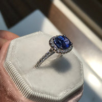 Custom East-West Setting Halo Diamond and Sapphire Ring in Platinum, Size 6.5