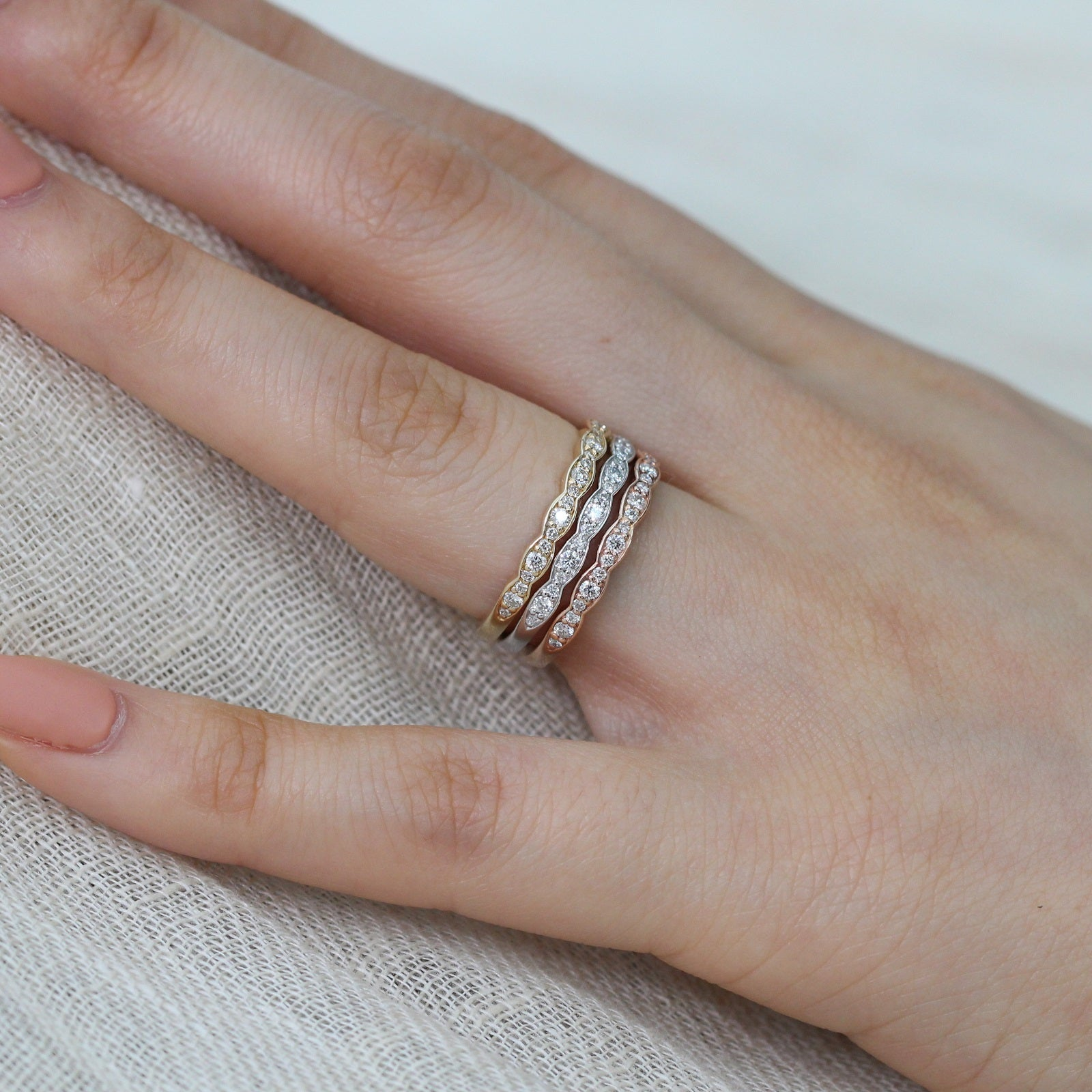 Scalloped Diamond Wedding Band In White Gold Half Eternity
