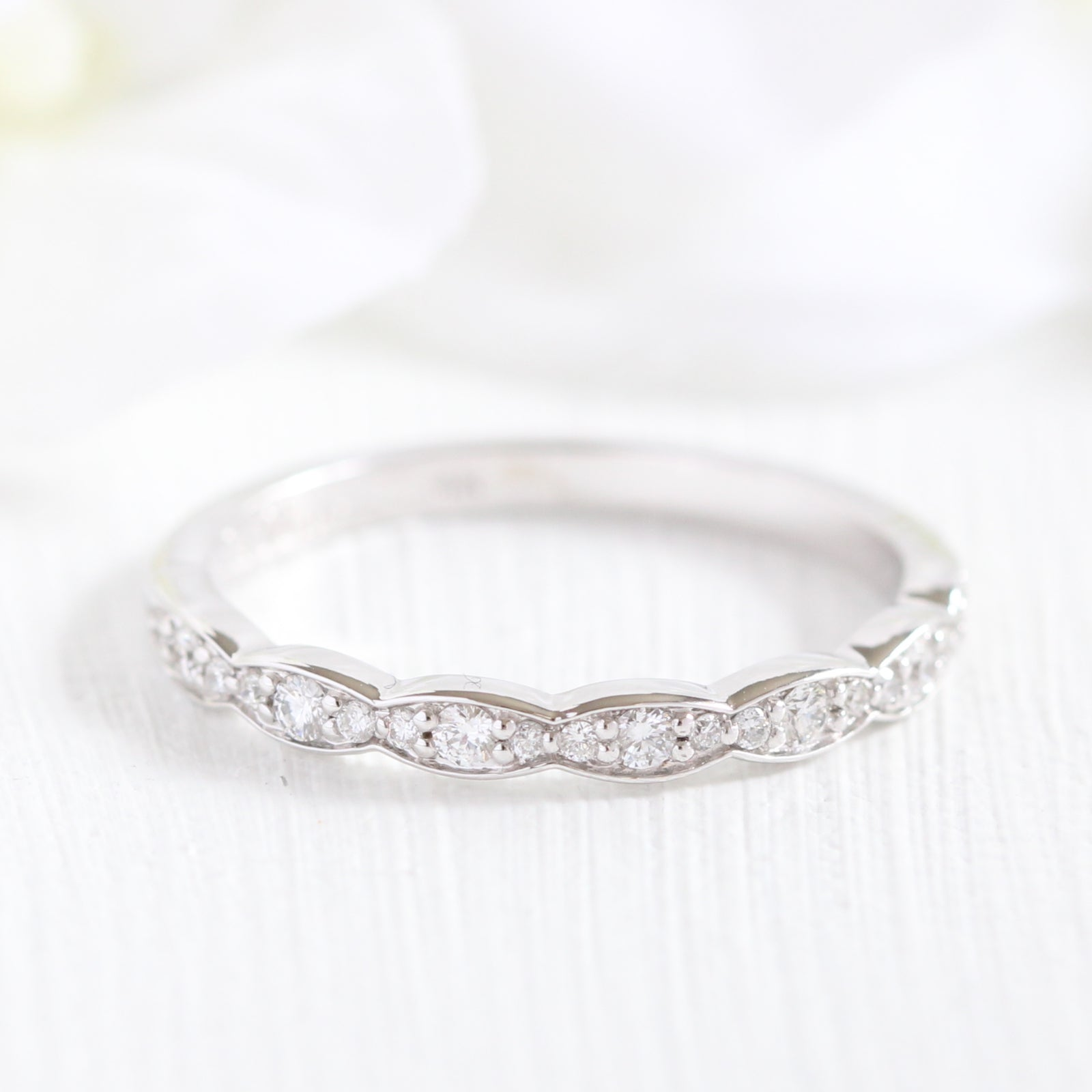 white bands gold anniversary halo scalloped stone wedding band diamond