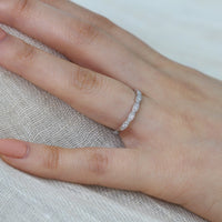 Scalloped diamond wedding band in white gold by la more design