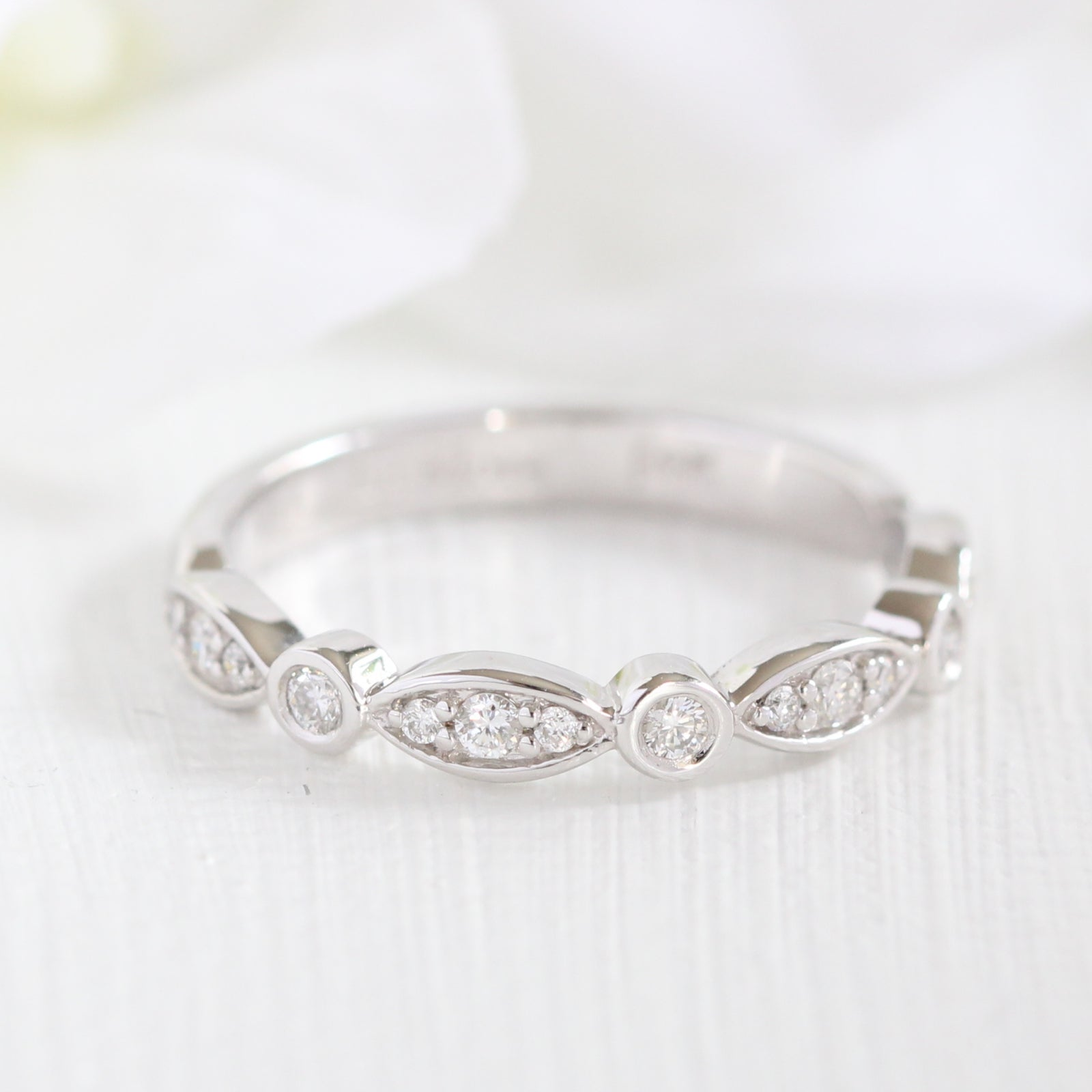 sale band stone scalloped il wedding listing ukan bands fullxfull zoom layering stacking ring