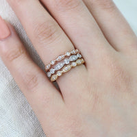 scalloped diamond wedding ring white gold bezel band by la more design