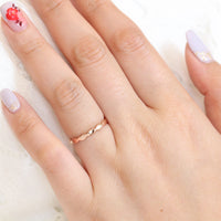 scalloped wedding ring in rose gold plain band shinny finish by la more design