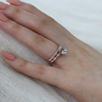 solitaire aquamarine ring bridal set scalloped diamond band rose gold by la more design