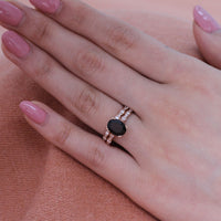 solitaire black spinel ring bridal set in rose gold scalloped diamond band by la more design