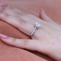 Grace Solitaire Ring in Scalloped Band w/ Oval Moissanite and Diamond