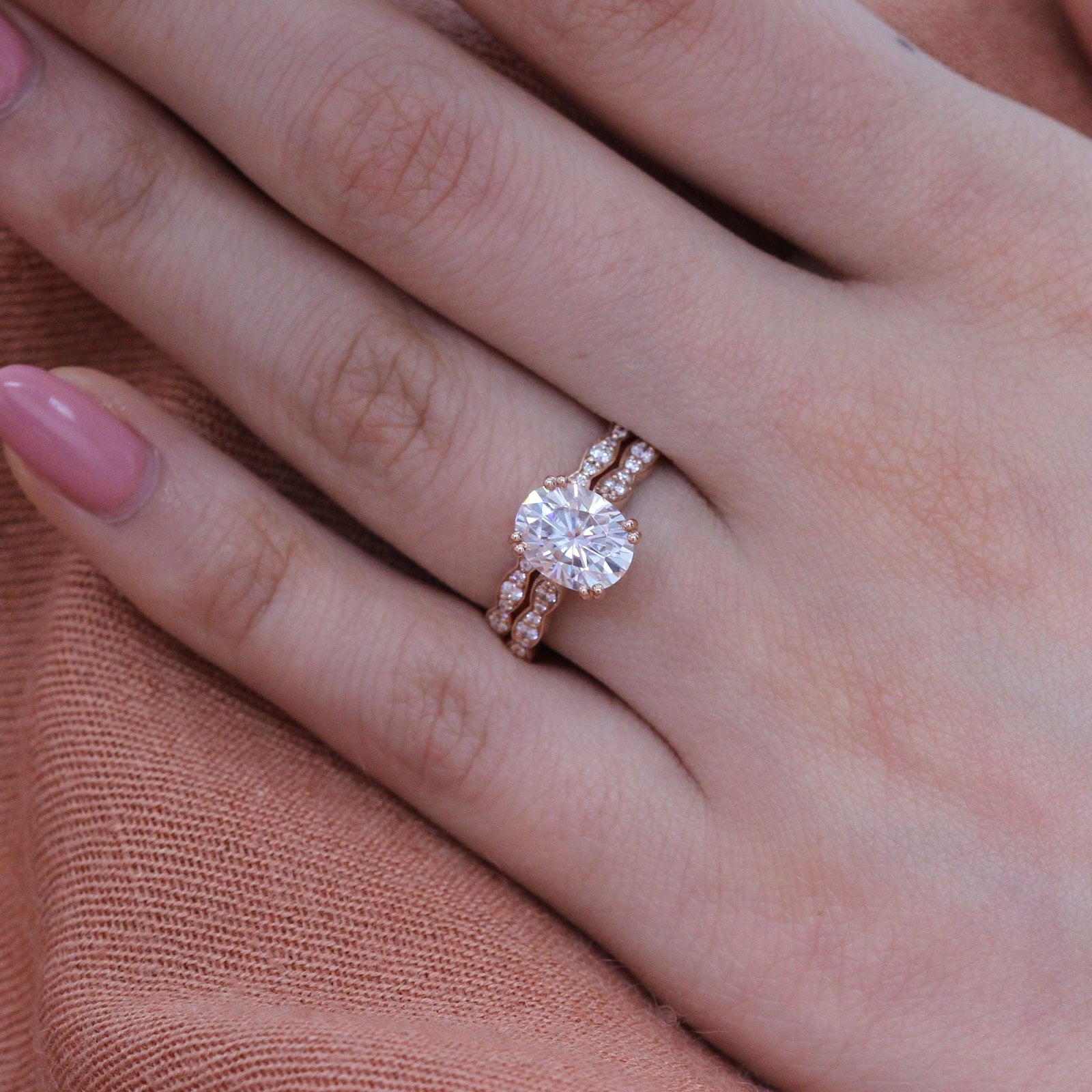 Solitaire Moissanite Ring Bridal Set in Rose Gold Diamond