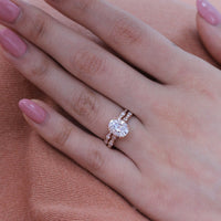 solitaire moissanite ring bridal set in rose gold scalloped diamond band by la more design