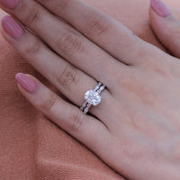 solitaire moissanite ring bridal set in white gold scalloped diamond band by la more design