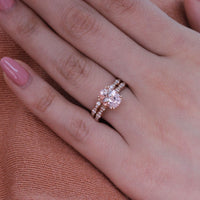 solitaire morganite ring bridal set scalloped diamond band by la more design