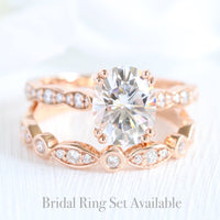 solitaire moissanite ring bridal set in rose gold bezel diamond band by la more design