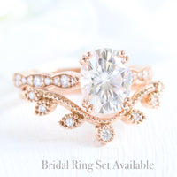 solitaire moissanite ring bridal set in rose gold curved leaf diamond band by la more design