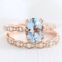 solitaire aquamarine ring bridal set in rose gold scalloped diamond band by la more design jewelry