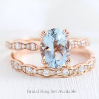 Grace Solitaire Ring in Scalloped Band w/ Oval Aquamarine and Diamond