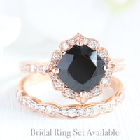 unique black spinel diamond ring bridal set in rose gold diamond band by la more design