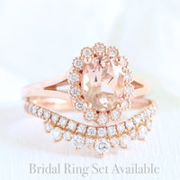 unique morganite ring bridal set in rose gold vintage inspired diamond ring by la more design