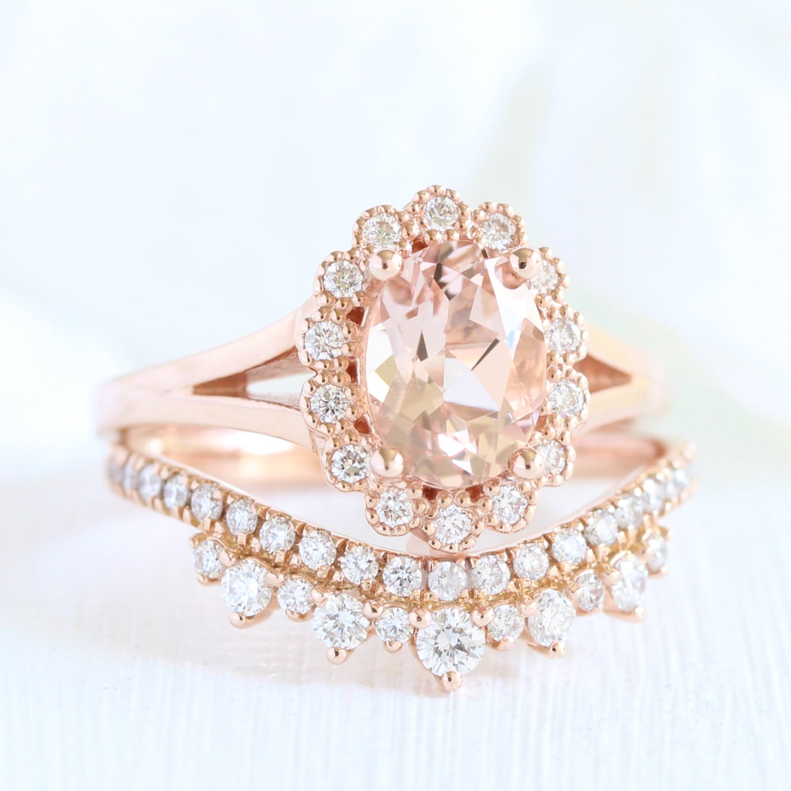 64ac48476b Vintage Luna Halo Bridal Set w/ Oval Morganite and Crown Diamond Band | La  More Design