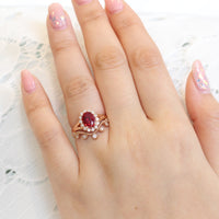 unique ruby ring bridal set in rose gold vintage inspired diamond ring by la more design