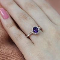 vintage floral amethyst ring rose gold scalloped diamond engagement ring by la more design