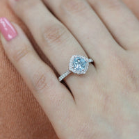 cushion aquamarine engagement ring in white gold vintage inspired diamond band by la more design