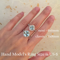 vintage floral aquamarine engagement ring scalloped diamond band white gold by la more design