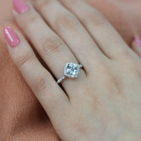 aquamarine engagement ring in white gold mini vintage floral by la more design