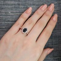 oval black spinel diamond engagement ring in rose gold vintage inspired band by la more design