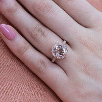 cushion morganite engagement ring in rose gold vintage inspired band by la more design
