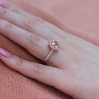 vintage floral cushion morganite engagement ring rose gold milgrain diamond band by la more design