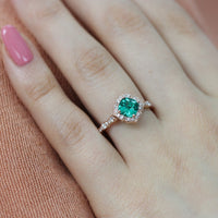vintage inspired emerald engagement ring in rose gold diamond band by la more design
