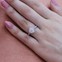 cushion moissanite engagement ring in white gold vintage inspired diamond band by la more design