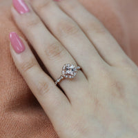 vintage floral morganite engagement ring rose gold scalloped diamond band by la more design