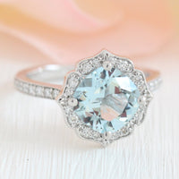 vintage floral aquamarine engagement ring white gold milgrain diamond band by la more design jewelry
