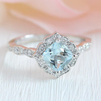 vintage floral aquamarine engagement ring white gold scalloped diamond band by la more design jewelry