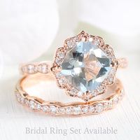 vintage floral aquamarine ring bridal set in rose gold by la more design